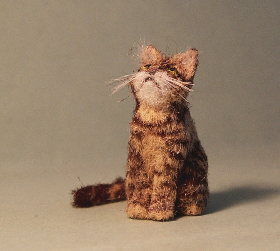 Dolls house fur tabby cat